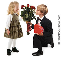 Valentine Romance - A little boy giving hearts and flowers...