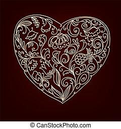 Valentine romantic floral heart