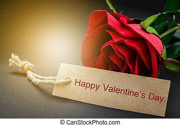 valentine,  rose, carte, jour, rouges, heureux