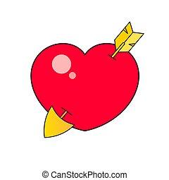 valentine, rotes , design, abbildung, herz, ikone, vektor, dein, web