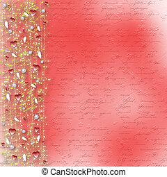 valentine, rue., salutation, cœurs, jour, carte