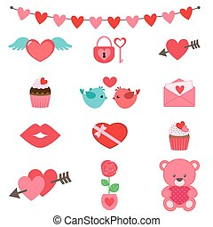 valentine, sæt, ikon