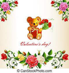 Valentine ' s card with Teddy bear