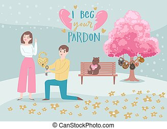 Valentine s Day couple in love, cartoon people characters boy with heart lock begs pardon from girl lovers vector illustration.