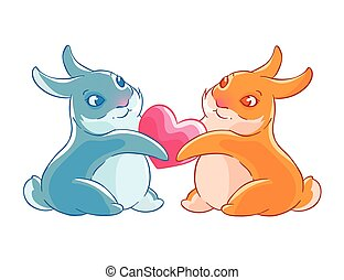 Valentine s day. Couple of rabbits holding heart in their paws. Vector illustration