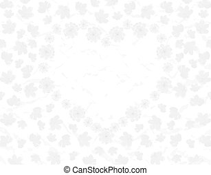 Valentine s Day. Field and heart of Sakura flowers. Black and white illustration