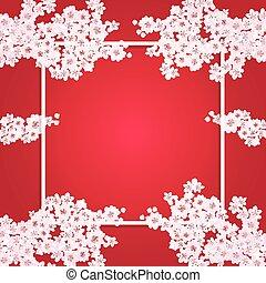 Valentine s Day. Fine art postcard Sakura Flowers. Blooming cherry. illustration