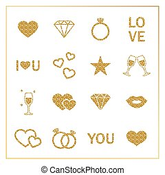 Valentine s day golden glitter design elements set.