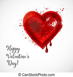 Valentine s Day greeting card with big red blood grunge heart on white background