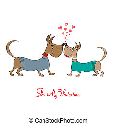 Valentine' s day greeting card with cartoon dog characters