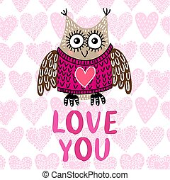 Valentine s day greeting card with owl