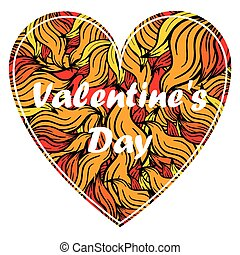 Valentine s day heart with spurts of flame.