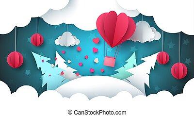 Valentine s Day illustration. Winter landscape. Air balloon, fir, cloud, star.