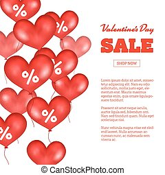 Valentine s Day Sale. Flying Red Balloons On White Background. Vector Illustration