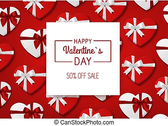 Valentine s day sale. Red background with gift boxes. Vector