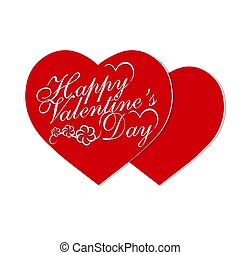 Valentine s Day. Valentines on holiday. Two red hearts with a congratulatory inscription. illustration