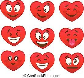 valentine, s, jogo, de, coração, sorrisos