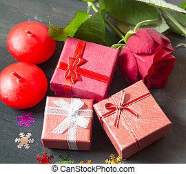 valentine', s, jour, peu, présente, et, roses