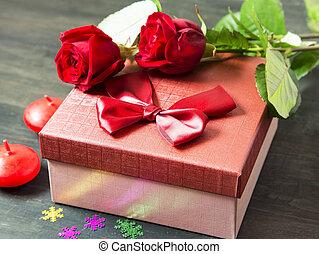 valentine', s, jour, romantique, présent, et, roses