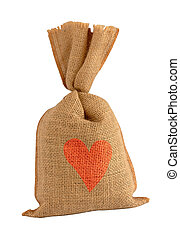 Valentine sack with heart