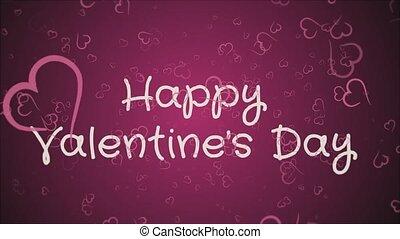 valentine, salutation, jour, animation, carte, heureux