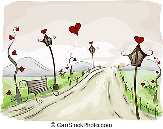 Valentine Scene - Illustration of a Rural Scene with a...