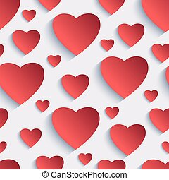 Valentine seamless background with 3d hearts