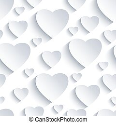 Valentine seamless background with white 3d hearts
