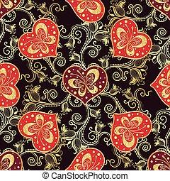 Valentine seamless dark pattern with purple hearts