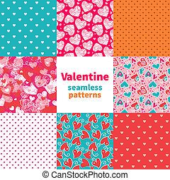 valentine, seamless, patrón, conjunto