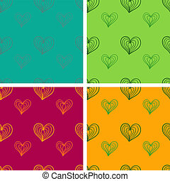 Valentine seamless pattern set