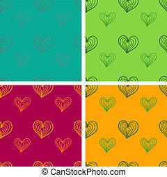Valentine seamless pattern set