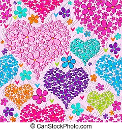 Valentine seamless pattern with colorful floral hearts