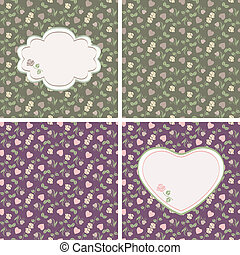 Valentine seamless patterns with he