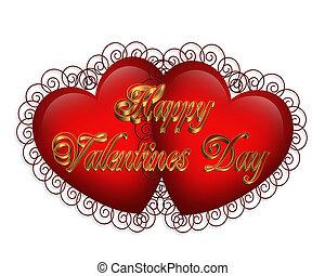 valentine, serca, graficzny, 3d