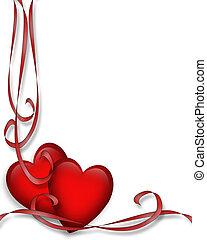 valentine, serca, i, wstążki, brzeg