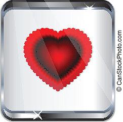 valentine, serce, ikona, szkło