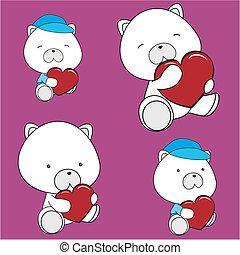 valentine, serce, komplet, niedźwiedź, polarny