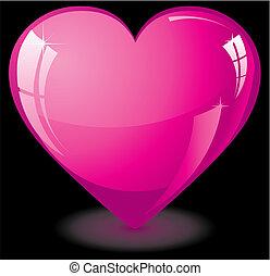 valentine, serce, różowy, szkło