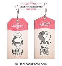 valentine, set, dag, geschenk etiketteert