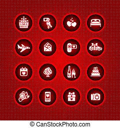 valentine, set, giorno, icone
