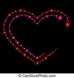Background with two heart-shaped lines of glittering lights. Graphics are grouped and in several layers for easy editing. The file can be scaled to any size.