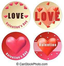 Valentine sticker design with red hearts