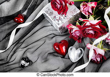 Valentine Still Life with Hearts and Roses