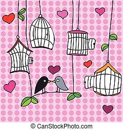 valentine, straat., groet, dag, vogels, kaart