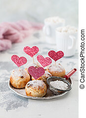 Valentine Sultana Cupcakes Dusted with Icing Sugar Decorated...