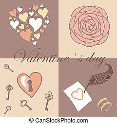 valentine symbols set