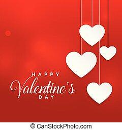 valentine, tło, wisząc, serca, biały, dzień, czerwony