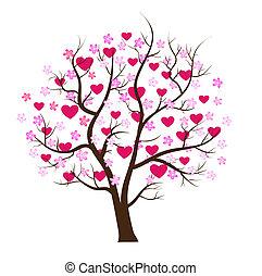 valentine, tag, baum, liebe, vektor, begriff