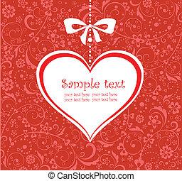 valentine, tarjeta de felicitación, rojo